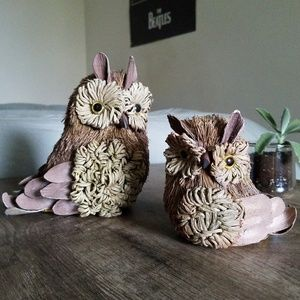 Set of Natural Straw Owls